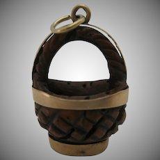 Antique Hand Crafted 14kt Rose Gold Basket Charm