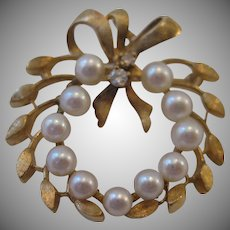 Estate 14kt Cultured Pearl and Diamond Circle Pin