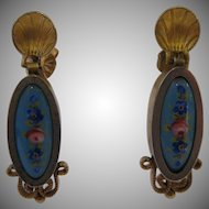 Antique Enamel Gold Filled Dangle Earrings with 14kt Yellow Gold Shell Posts