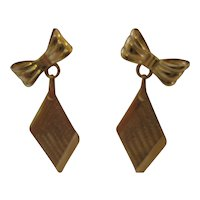 Vintage 14kt Sweetheart Bow Dangle Earrings