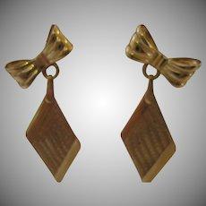 Vintage 14kt Sweetheart Bow Dangle Earrings