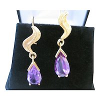 Vintage 14kt Lab Created Alexandrite Dangle Earrings