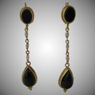Vintage 14kt Onyx and Diamond Shoulder Earrings