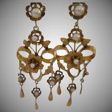Amazing Antique Victorian 10kt Gold Shoulder Earrings