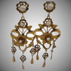Victorian 10kt Gold Shoulder Earrings With Cultured Pearls