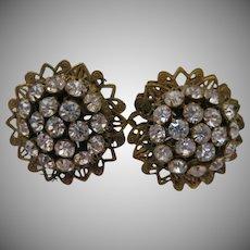 Robert Rhinestone Vintage Clip Earrings