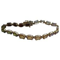 14kt Rainbow Gemstone Line Bracelet