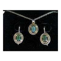Natural Jadeite Necklace and Earrings Set
