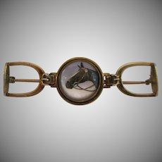14kt Equestrian Reverse Intaglio Essex Crystal Brooch