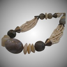 Sterling and Grey Onyx Vintage Statement Necklace