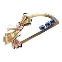 14kt Art Deco Half Circle Sapphire Pin