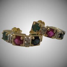 14kt Precious Gemstone Half Hoop Earrings