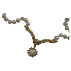 Vintage 14kt Diamond and Cultured Pearl Lavalier Necklace