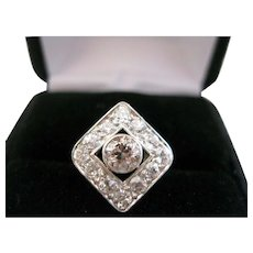 14kt Edwardian White and Champagne Diamond Ring- 1.25 tdw