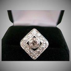 14kt Edwardian White and Champagne Diamond Ring- 1.25 tdw