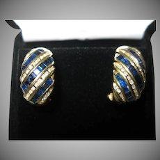 14kt Sapphire Diamond Earrings