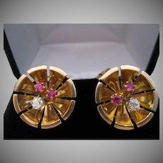 Retro 14kt Rose Gold Diamond Ruby Clip Earrings