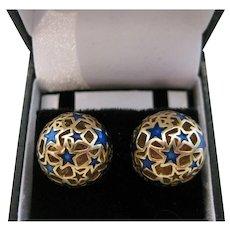 Vintage 14kt Enamel Stars Button Earrings