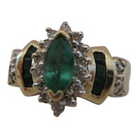14kt Emerald Diamond Ring