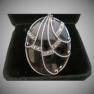 Art Deco Style Black Onyx and Marcasite Pendant