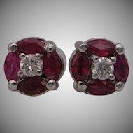 14kt Art Deco Style Ruby Diamond Stud Earrings