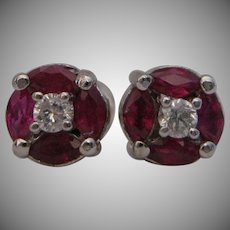 14kt Art Deco Style Ruby Diamond Stud Earrings