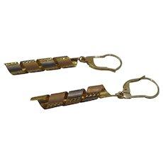 Vintage 14kt Tri-color Gold Swirl Ribbon Dangle Earrings