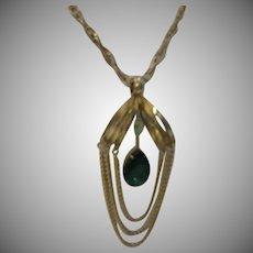 Mod Rhinestone Pendant Necklace