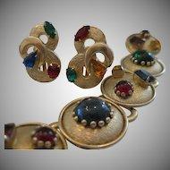 Retro Faux Gemstone Geometric Bracelet Earrings Set