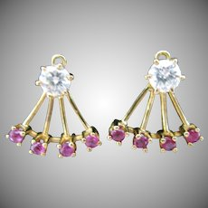 14kt Ruby Earring Jackets with Ruby and Diamond Studs