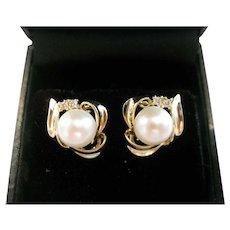 14kt Pearl and Diamond Stud Earrings