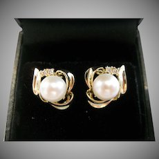 14kt Pearl and Diamond Stud Earrings