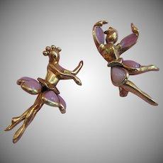 Vintage Trifari Pink Ballet Dancer Scatter Pins