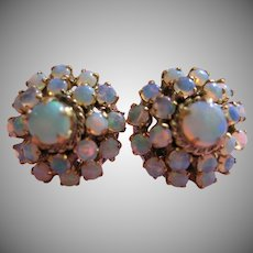 14kt Opal Cluster Bead Vintage Earrings