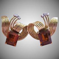 Retro 18kt Madeira Citrine and Diamond Ear Clips