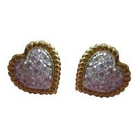 Vintage 18kt Gregg Ruth Diamond Stud Heart Earrings