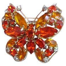Vintage La Roco Rhinestone Butterfly Brooch