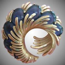 Vintage Crown Trifari Swirl Blue Glass Cabochon Brooch