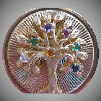 Vintage Henry Dankner & Sons 14kt Gemstone Family Tree Charm