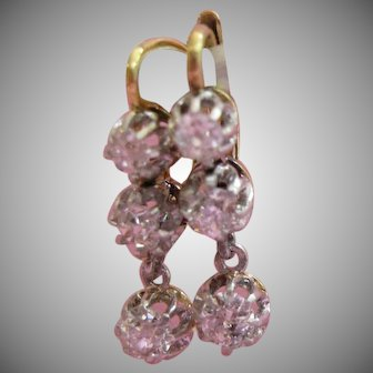 Antique 18kt Triple Diamond Tremblant French Drop Earrings