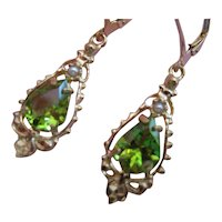 Vintage Peridot Seed Pearl 14kt Dangle Earrings