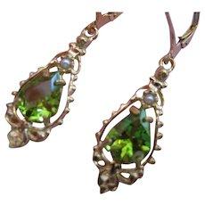 Vintage Peridot Seed Pearl 14kt Dangle Earrings