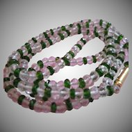 18kt Rock Crystal and Chrome Diopside Bead Necklace