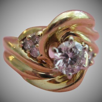 14kt Diamond Swirl Design Ring