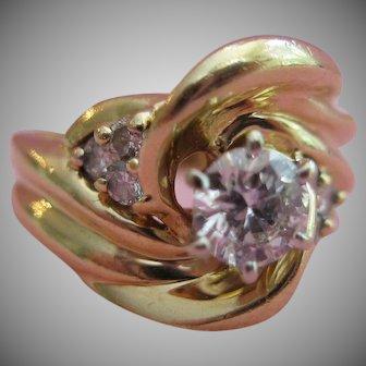 14kt Diamond Swirl Design Ring