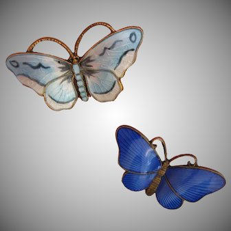 Vintage Sterling Enamel Butterfly or Moth Pins Norway