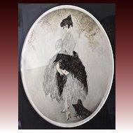 """Louis Icart Chromolithograph """" La Lettre"""" Circa 1928"""