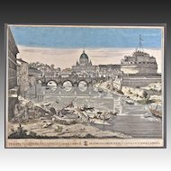 Antique Italian Engraving of Castel Sant' Angelo
