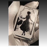 Art Deco Ladies Enameled Nickel Silver Cigarette Case C. 1920's