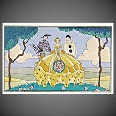 "French Pochoir Circa 1925, "" Harlequin, Columbine and Pierrot"""